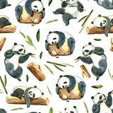 Watercolor seamless pattern of different panda and leaves Royalty Free Stock Photo