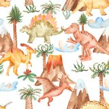 Watercolor seamless pattern with dinosaurs, mountains, palm trees, plants. vector illustration