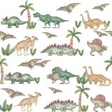 Watercolor seamless pattern dinosaurs Prehistoric animals Isolated on white background Hand painted illustration Perfect