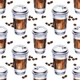 Watercolor seamless pattern with disposables cups of coffee Stock Photos