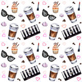 Watercolor seamless pattern with disposables cups of coffee, cup. Cakes, meringues, clutch, sunglasses, lipstick and coffee beans. Hand painted illustration Stock Photos
