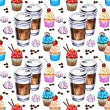 Watercolor seamless pattern with disposables cups of coffee Royalty Free Stock Photography