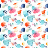 Watercolor seamless pattern,dot memphis fashion style, bright de Stock Images