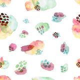 Watercolor seamless pattern, dot memphis fashion style, bright design repeating background. Hand painted modern brush. Watercolor seamless pattern,dot memphis vector illustration
