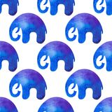 Watercolor seamless pattern with elephants. Silhouettes of elephant Stock Images