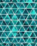 Watercolor seamless pattern with emerald triangles. Royalty Free Stock Images