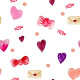 Watercolor seamless pattern of envelopes, hearts, bows, carameles and confetti. In red and pink colors on a white background for packaging design, cards stock illustration