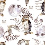 Watercolor seamless pattern with eyes, owls, moon and fern. Dark mystical colors. Lilac and brown vector illustration