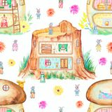 Watercolor seamless pattern with fabulous houses vector illustration