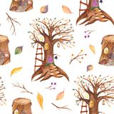 Watercolor seamless pattern with fairytale tree and stump. Texture with forest houses gnomes for wallpaper, kindergarten, cards, children`s design royalty free illustration