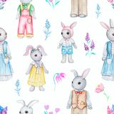 Watercolor seamless pattern with family of rabbits vector illustration