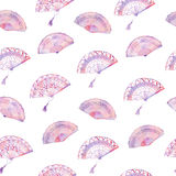Watercolor seamless pattern with fan Royalty Free Stock Photography