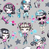 Watercolor seamless pattern with fashion teenagers. Glamorous and sport girls. Summer bright illustration. Have fun Royalty Free Stock Images