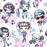 Watercolor seamless pattern with fashion teenagers. Glamorous and sport girls. Summer bright illustration. Have fun Stock Photos