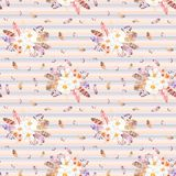 Watercolor seamless pattern with feathers and anemones bouquets on striped background. Seamless pattern can be used for scrapbooking, wallpaper, cards and so on Royalty Free Stock Photography