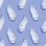 Watercolor seamless pattern with feathers 4. Watercolor seamless pattern with feathers. Hand drawn background Royalty Free Stock Photo