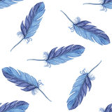 Watercolor seamless pattern feathers. Vector Stock Photos