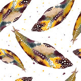 Watercolor seamless pattern with feathers. Vector Royalty Free Stock Photography