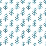 Watercolor seamless pattern with fir branch. Decorative hand drawn watercolor seamless pattern with fir branch on a white background Royalty Free Stock Photos
