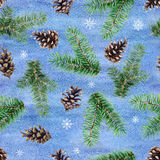 Watercolor seamless pattern with fir tree branches, cones and snowflakes. Watercolor illustration. Watercolor seamless pattern with fir tree branches, cones and Stock Photo