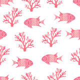 Watercolor seamless pattern with fish and corals. Pink vector background. Underwater world Stock Image