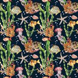 Watercolor seamless pattern with fish and laminaria branch. Hand painted tropical fish, starfish, jellyfish and air. Bubbles on blue background. Nautical Stock Photo