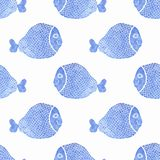Watercolor seamless pattern with fish on the white. Background, aquarelle. Vector illustration. Hand-drawn decorative element useful for invitations Royalty Free Stock Image