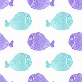 Watercolor seamless pattern with fish on the white. Background, aquarelle. Vector illustration. Hand-drawn decorative element useful for invitations Stock Image