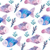 Watercolor seamless pattern with fishes and seaweeds royalty free illustration