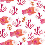 Watercolor seamless pattern with fishes and seaweeds. Hand drawn illustration Royalty Free Stock Photos