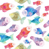 Watercolor seamless pattern with fishes and seaweeds. Hand drawn illustration Stock Photography
