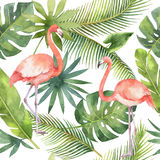 Watercolor seamless pattern of flamingo and palm trees isolated on white background. vector illustration