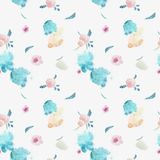 Watercolor seamless pattern with floral elements and dot memphis stock illustration
