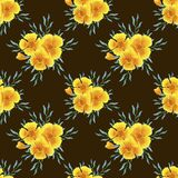 Watercolor seamless pattern of floral elements, yellow plants with green foliage on a brown background