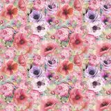Watercolor seamless pattern with flowers, anemones, poppies, roses and butterflies. Romantic botanical wallpaper. vector illustration