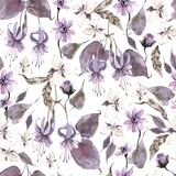 Watercolor seamless pattern with flowers. Dark mystical colors. Lilac and brown vector illustration