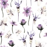 Watercolor seamless pattern with flowers. Dark mystical colors. Lilac and brown royalty free illustration