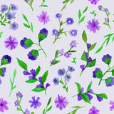 Watercolor seamless pattern with flowers and leaves. Royalty Free Stock Photos