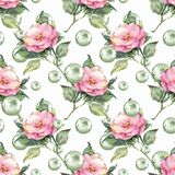 Watercolor seamless pattern. Flowers and pearls. Watercolor floral seamless pattern. Flowers and green pearls Stock Image