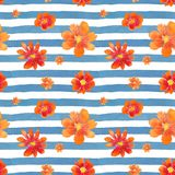 Watercolor seamless pattern with flowers Royalty Free Stock Photography