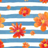 Watercolor seamless pattern with flowers Royalty Free Stock Images