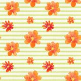Watercolor seamless pattern with flowers Royalty Free Stock Photo