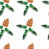 Watercolor seamless pattern - forest cones Stock Photography