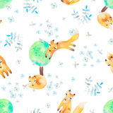 Watercolor seamless pattern with foxes in forest. Good for kids. Watercolor seamless pattern with foxes in forest. Kids fashion textile Royalty Free Stock Photos