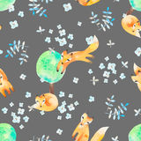 Watercolor seamless pattern with foxes in forest. Good for kids. Watercolor seamless pattern with foxes in forest. Kids fashion textile Stock Photo