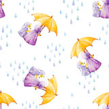 Watercolor seamless pattern. Foxes in rainy weather under the um. Brella. Mother and daugther Royalty Free Stock Photo