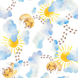 Watercolor seamless pattern. Foxes watching to the sky. Kids motifs Stock Photos