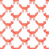 Watercolor seamless pattern with foxes on the Stock Photo