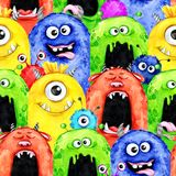 Watercolor seamless pattern with funny monster heads. Celebration illustration. Cartoon horror party. Funny beasts. Baby background. Can be use in holidays royalty free illustration