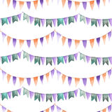Watercolor seamless pattern with the garland Stock Photos